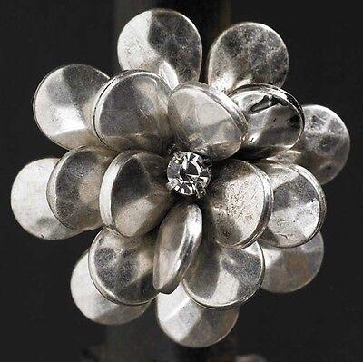 (Silver Metal Flower Rhinestone Stretch Ring Fashion)