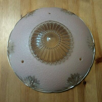 Vintage Pink Art Deco 3 Hole Glass Ceiling Light Lamp Shade