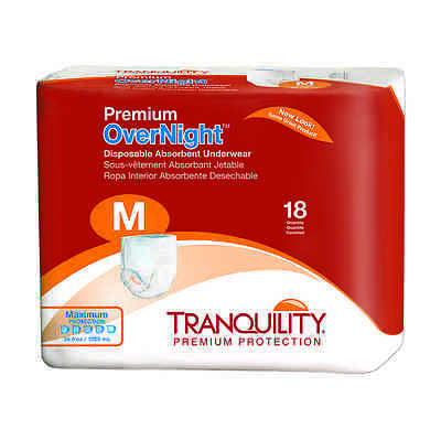 - Tranquility Premium OverNight Disposable Absorbent Underwear Med Cs of 72 -2115