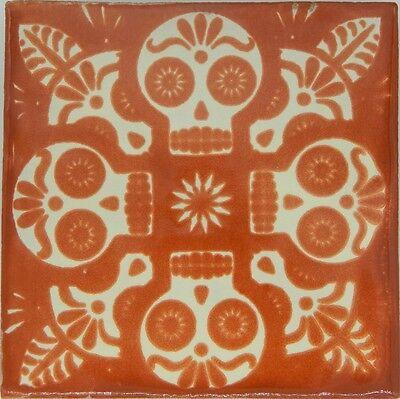 "Handmade Mexican Tile Sample Talavera Clay 4"" x 4"" Tile C398 Terracotta Skull"
