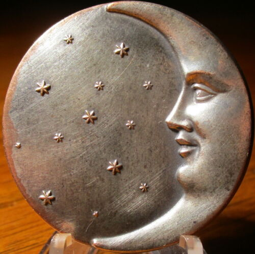 """Antique from France~ """"MAN IN MOON CRESCENT & STARS"""" Vintage White Metal Button"""