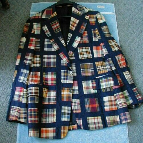 mens vintage madras plaid patchwork blazer sportcoat 1960s 42 or 43 NICE
