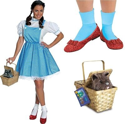 Dorothy COMPLETE Costume Adult Ruby Sequin Slippers Toto in Basket Wizard of Oz (Ruby Slippers Costume)