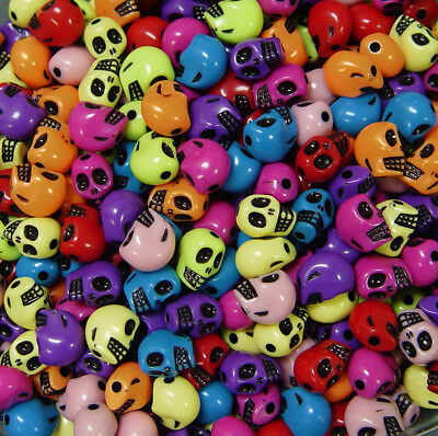 Colorful Skulls Beads for Halloween crafts party goth jewelry scary fun