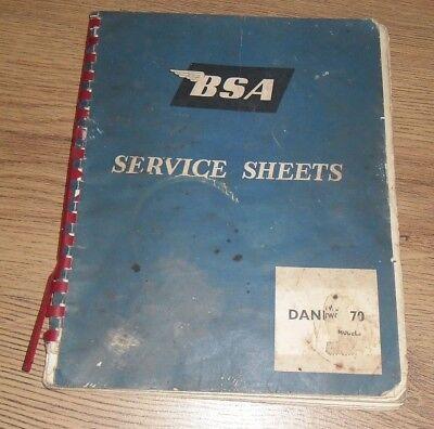 B.S.A.BANTAM SERVICE SHEETS