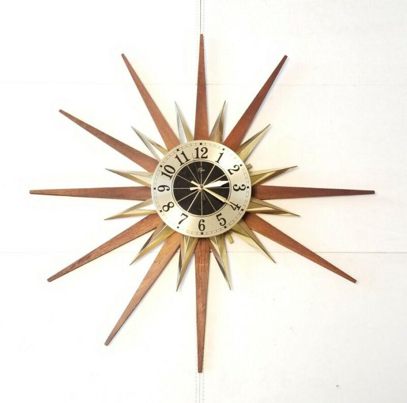 """PART OUT SPIRE ARM ONLY! Mid Century Modern Elgin 27"""" Starburst Sunburst Clock"""