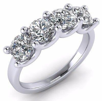Lab Diamond Wedding Ring band 2.00 Ct Round Cut 14k White Gold Prong set 4 stone Cut White Diamond Band