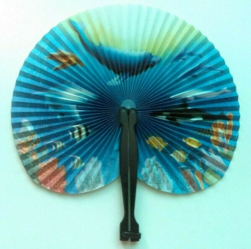Ocean Animals Coral Reef Angelfish Orca Whale Dolphins Hand Held Paper Fan