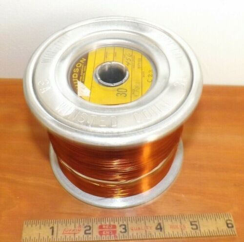 Vintage 4.7 lbs. Hudson Wire Co Enameled Copper Magnet Wire Dual Strand 30 AWG