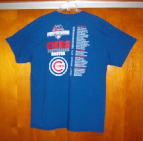 CHICAGO CUBS Majestic Adult Large Blue T-Shirt Two-Sides MISSION OCTOBER 2015
