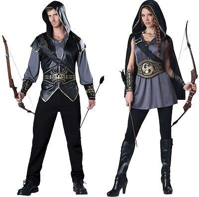 Paar mit Kapuze Jäger und Jägerin Erwachsene Kostüm Mittelalterlich Verkleidung