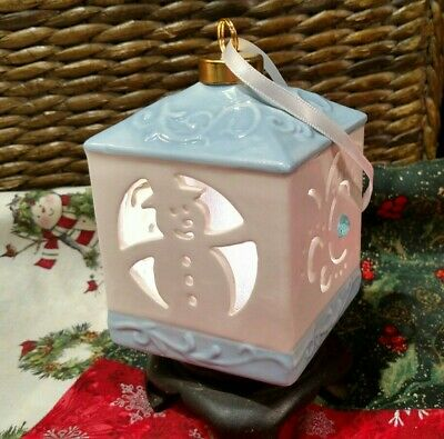 Ceramic Lantern Baby Blue Snowman Color Changing or Solid White Light Ornament