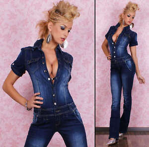 Sexy-Denim-overalls-BIB-Jumpsuit-with-destoyed-Look-Size-6-14