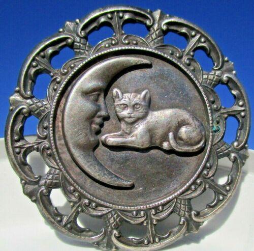 "Antique from France ""CAT w/CRESCENT MAN IN MOON"" Nouveau Pierced Vintage Button"