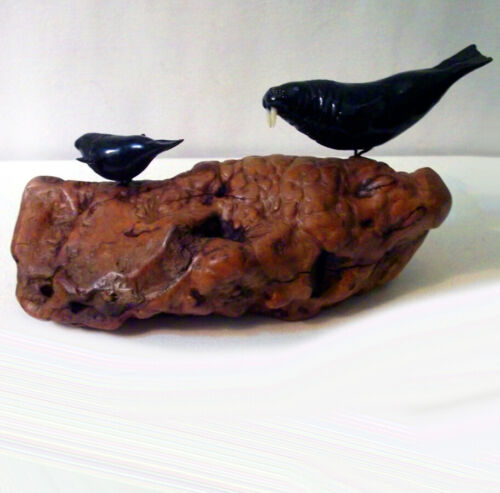 """Walrus & Calf"" Sculpture by John Perry- Ebonite mounted on  Burl Wood Base"