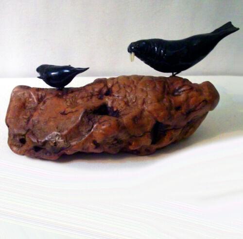 """Walrus & Calf"" Sculpture by John Perry- Ebonite mounted on  Burl Wood Base"