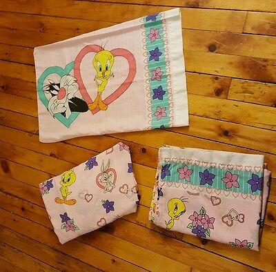 Looney Tunes Bibb Co Tweety Donald Sylvester Tasmanian Twin Sheet Set 3 pc