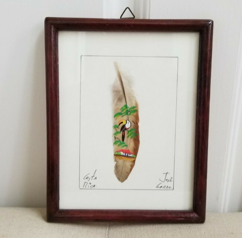Unique Wood Framed Painted Feather Picture  By Artist Jose Garro Costa Rica