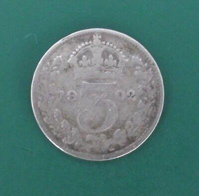 1902 Silver 3d Edward VII Coin