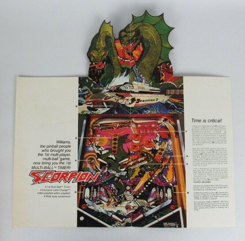 Williams Scorpion Pinball Advertising Flyer