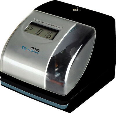 NEW ACROPRINT ES700 TIME & DATE EMPLOYEE RECORDER CLOCK, ATOMIC TIME SYNC Atomic Time Recorder