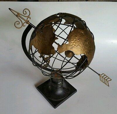 "World Globe Metal Cast Iron Heavy Base-Stands 21"" Tall-Very Nice!"