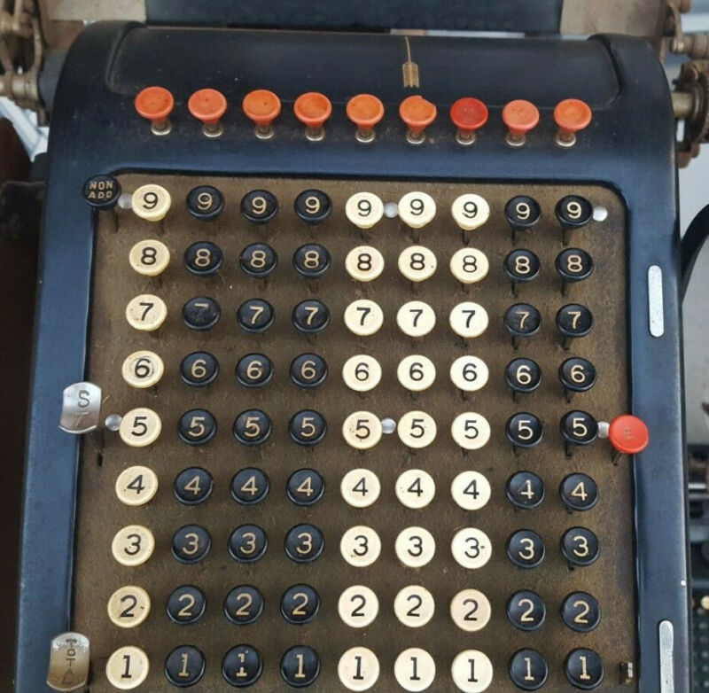 Vintage Burroughs Class 1 Model 1 1924 Adding Machine W/Stand