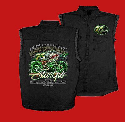 2015 Sturgis Motorcycle Rally Skeleton Cycle black Sleeveless Denim Shirt