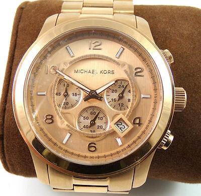 1ad0c67db New Michael Kors MK-8096 Rose Tone Runway Chronograph Men's Watch QX