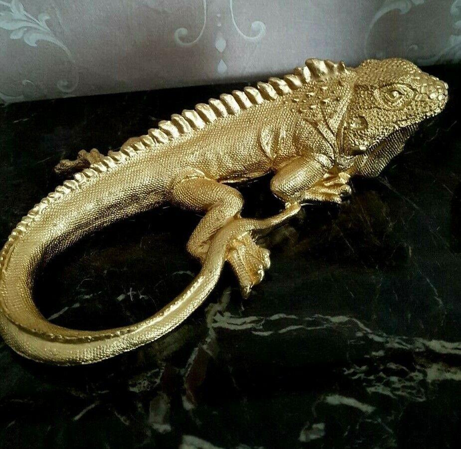 Deko Figur Skulptur Chamäleon Reptil Echse Chamälion Leguan Eidechse gold L.25cm