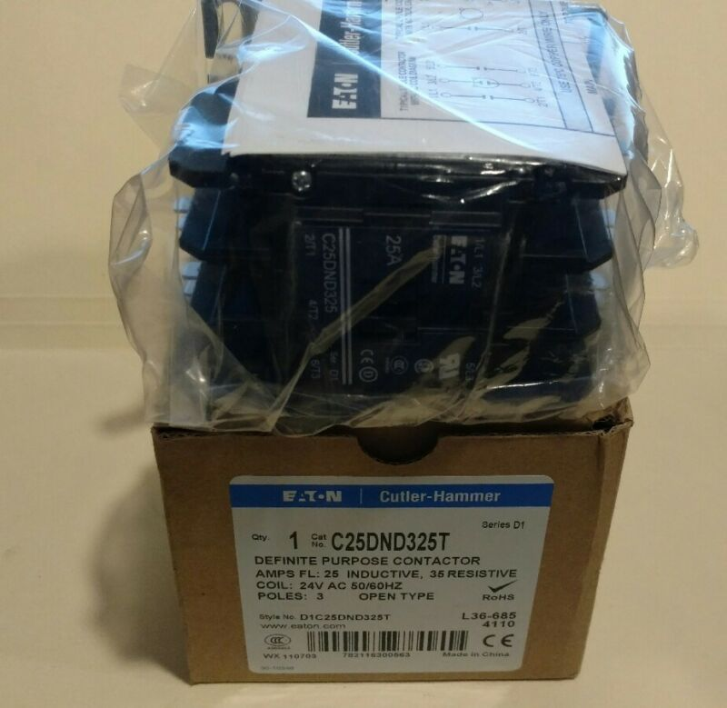 NIB EATON CUTTLER-HAMMER C25DND325T Definite Purpose Contactor 3 Pole 25Amp NEW