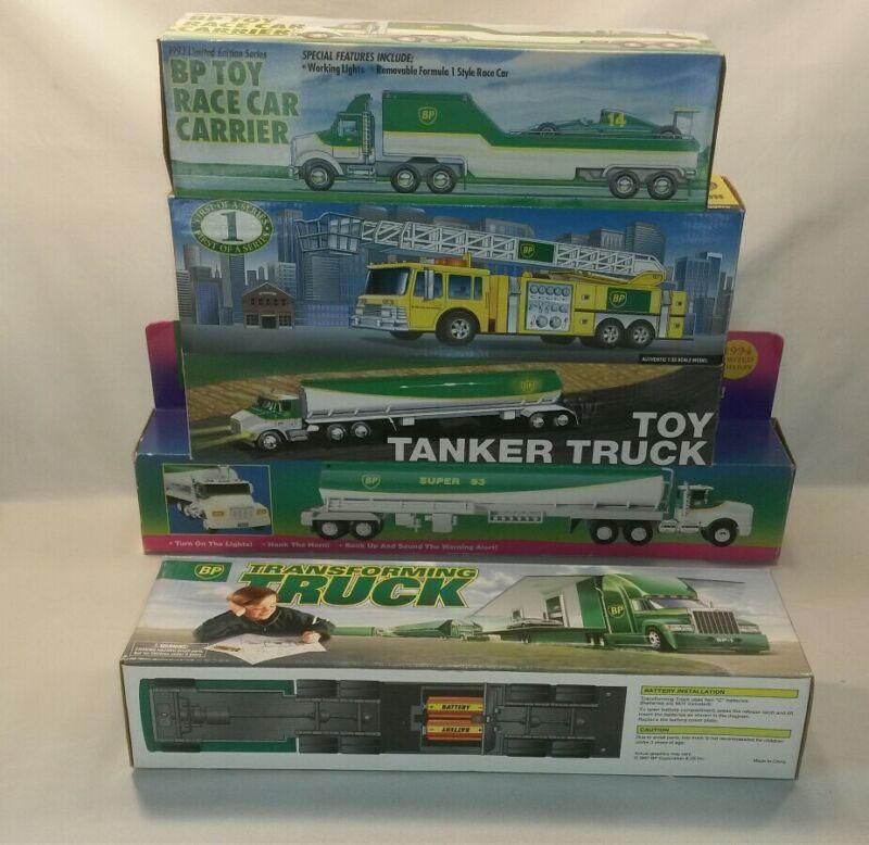 ☆ NEW Bp Toy Truck Lot 5 Tanker, Firetruck,Transforming,Race Car Carrier F/SHIP