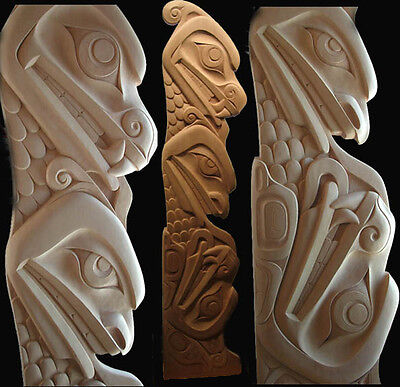 Shawn Hunt-OVER 7 FEET TALL - Sisiutl Totem Pole Native American Indian Carving.
