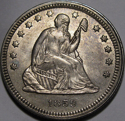 Click now to see the BUY IT NOW Price! 1859 SEATED LIBERTY QUARTER CHOICE BU FLASHY AND 100 ORIGINAL,  COIN!!