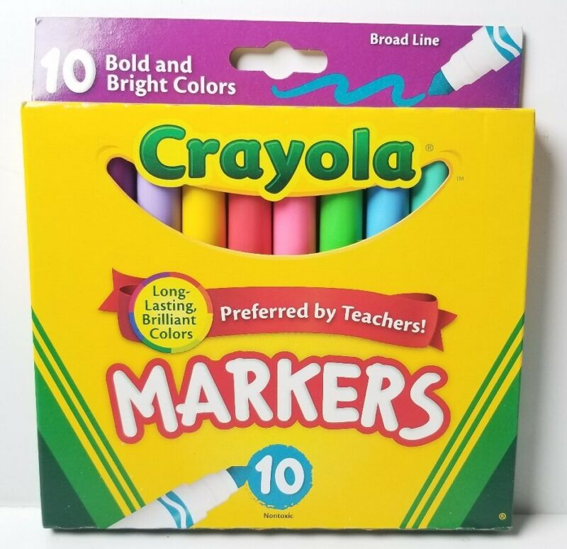 Crayola Bold & Bright Broad Line Brilliant Markers Assorted Colors 10/Pkg NEW!
