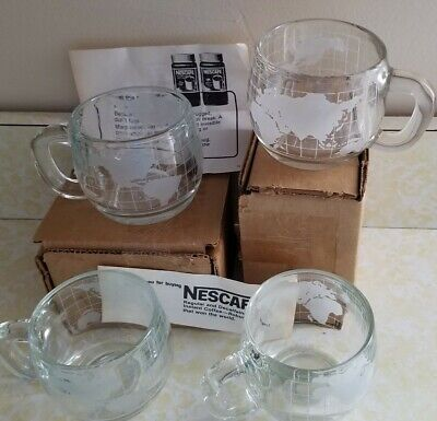 4 VTG NOS Nestle Nescafe Etched Clear Glass World Globe Coffee Mugs Cups NICE!
