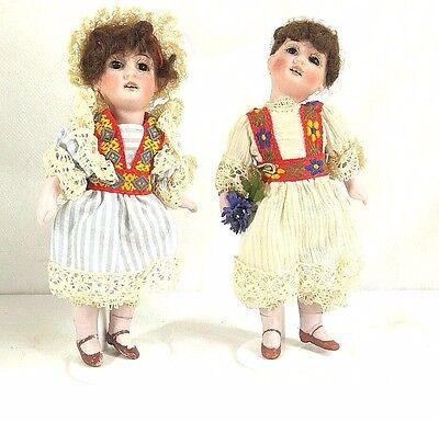 """2 Antique Miniature Open Mouth Doll Bisque Head Dollhouse Gebrüder Kuhnlenz 6"""""""