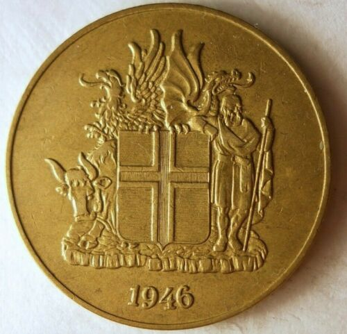 1946 ICELAND 2 KRONUR - Great Collectible - FREE SHIPPING - Iceland Bin A