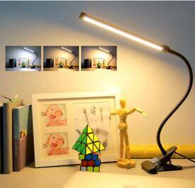 Clip On Desk Lamp-3 Color 11 Brightnes,64 LED 10W Book Reading Light with USB Plug, Stepless Dimmer