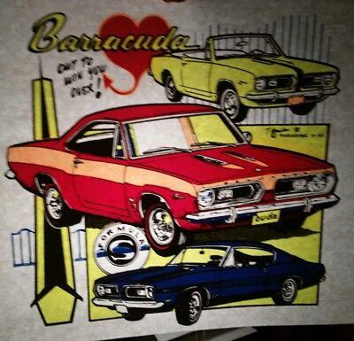 Vintage Retro 2Nd Gen Barracuda  Heat Press Transfer Lot Of 2