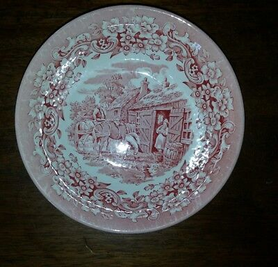 English Ironstone Pink Red Cereal Bowl(s) 17th century England Red River Floral