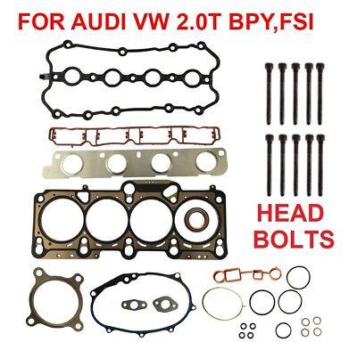 Cylinder Head Gasket Set W BOLTS AUDI A4 2.0T VW PASSAT 2.0T BPY CDMA (2.0 Head Gasket Set)