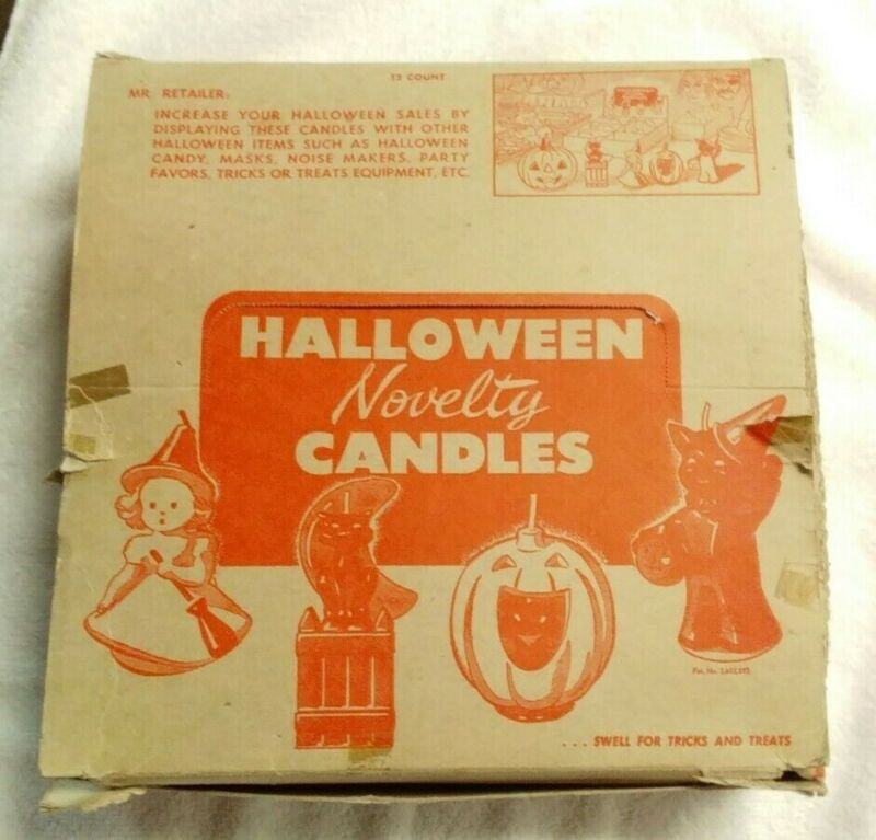 Vintage 1950s Gurley Halloween Candles/Spun Cotton Chenille/Candy Cups
