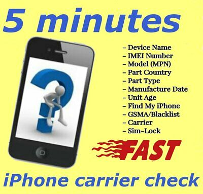 INSTANT iPhone IMEI Check  /Simlock/Carrier /Find My Iphone /Blacklist Status
