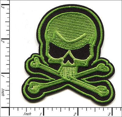 30 Pcs Embroidered Iron on patches Green Skull & Bone Halloween  - Halloween Iron Ons