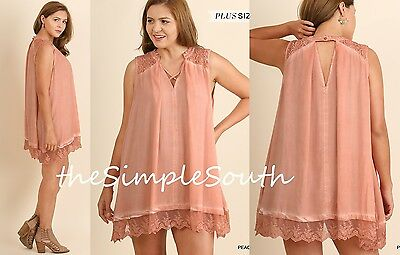 New UMGEE Peach Mineral Wash Keyhole Lace Ruffle Hem Tunic Tank Top Dress XL (Mineral Springs Apparel)