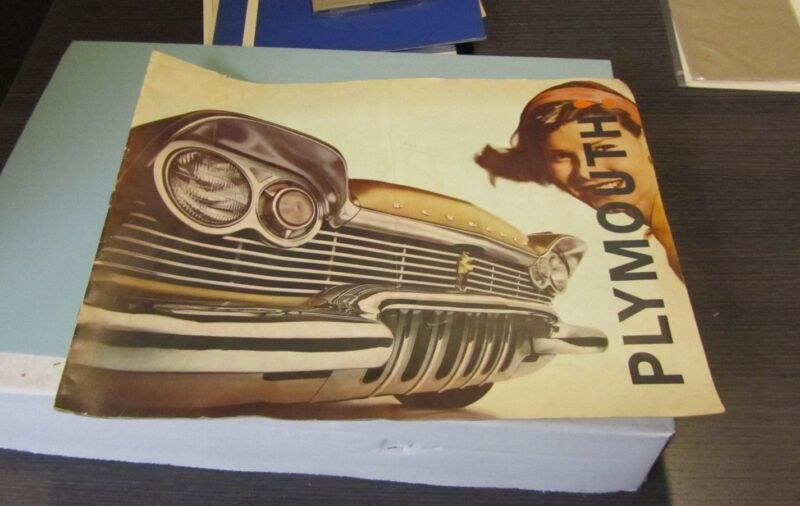 Late 1950s Plymouth Automobile Brochure Oversized Belvedere Savoy Plaza Suburban