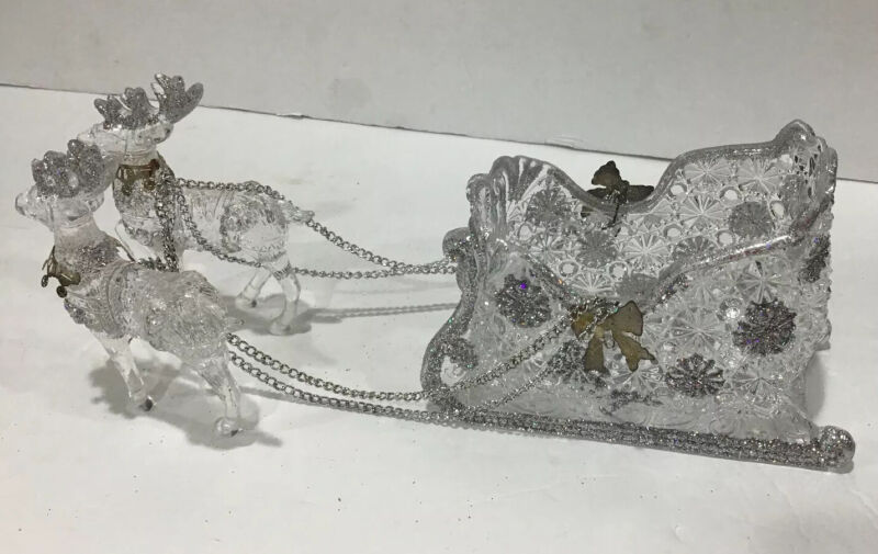 """Vintage 6"""" Acrylic Glass Sleigh with Reindeer Silver Glitter Christmas Holiday"""