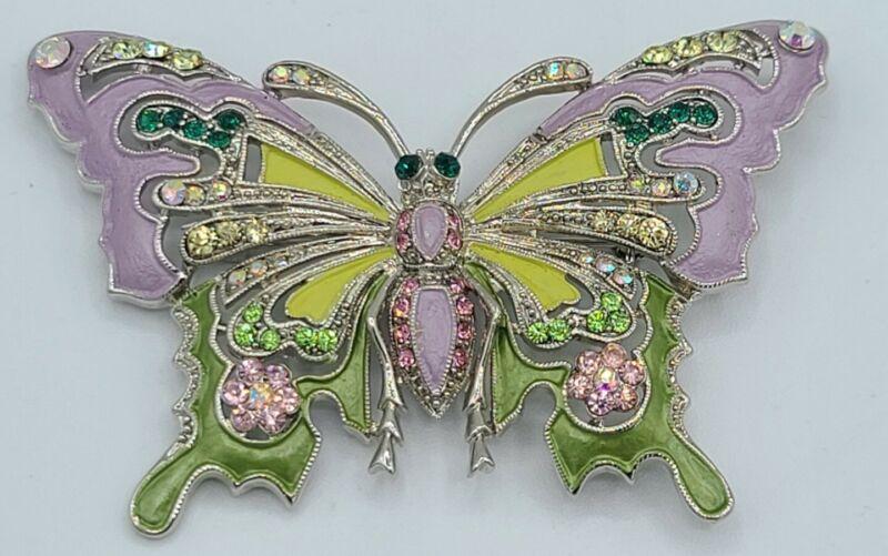 Gorgeous Enamel Butterfly Brooch- Purple, Green & Yellow Enamel - Stunning...