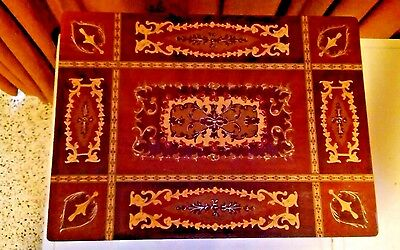 Vintage Musical Music Jewelry Box Italian Marquetry Inlaid Table